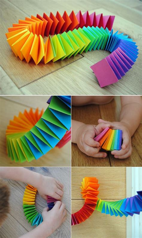 How To Make A Paper Rainbow - folded paper garland craft activities garlands and rainbows