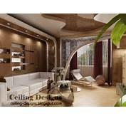 Brown PVC Ceiling Design For Living Room