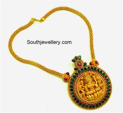 gold chain with lakshmi pendant jewellery designs