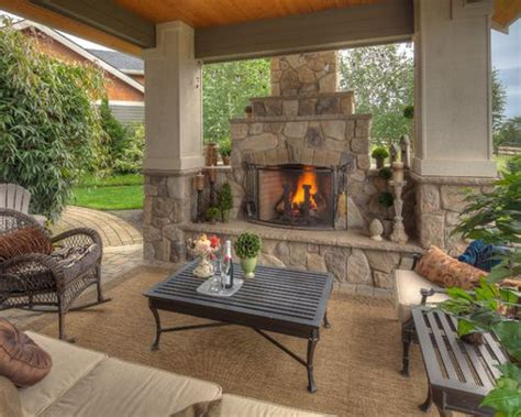 Patio Fireplace Designs Houzz Covered Patios With Fireplaces Design Ideas Remodel Pictures