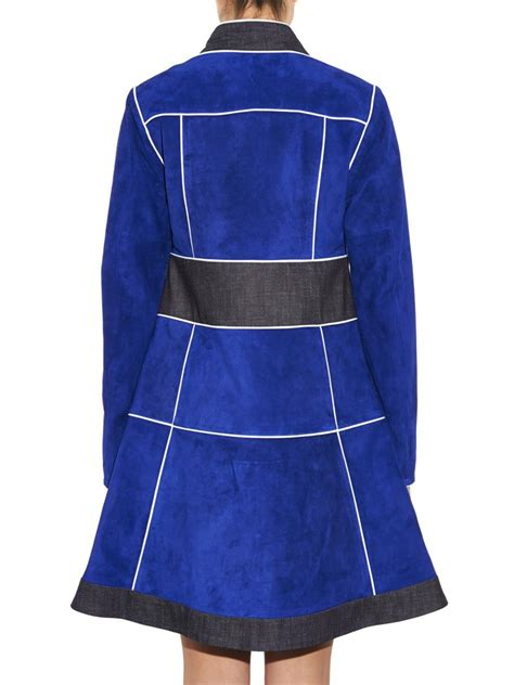 Patchwork Coats - derek lam suede patchwork coat in blue lyst