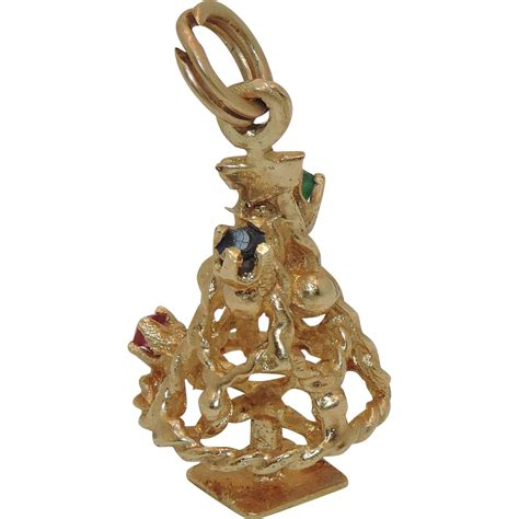 14 karat gold christmas tree charm with stones or
