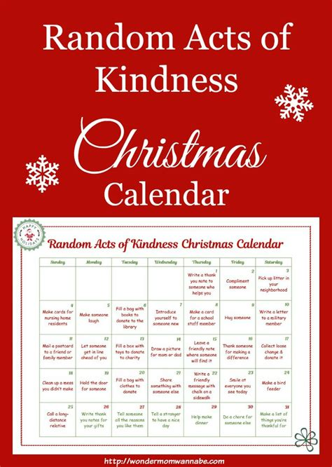 free printable random acts of kindness christmas calendar