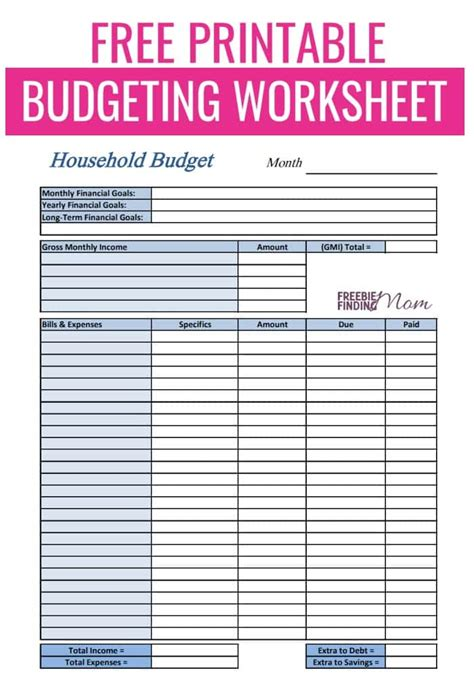 Free Printable Budget Worksheet