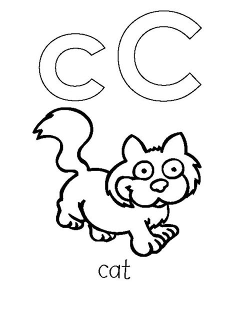 c is for cat coloring page kids coloring page gallery