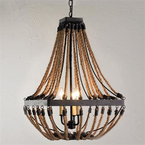 Rope Light Chandelier Nautical Rope And Bronze Square Chandelier Chandeliers By Shades Of Light