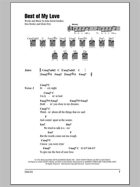 printable lyrics hotel california best of my love sheet music by eagles lyrics chords