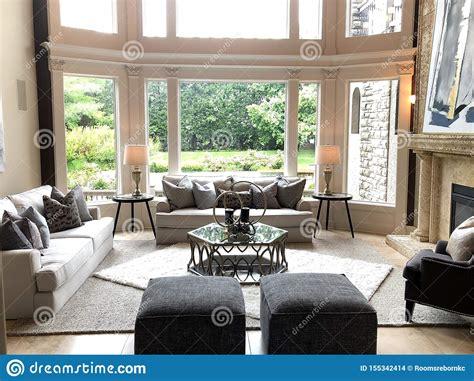 modern great room  large windows stock photo image