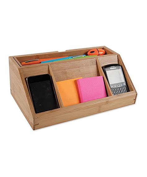 bamboo desk charging station home office