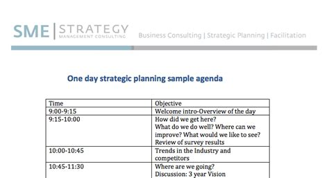 one day strategic planning meeting sle agenda
