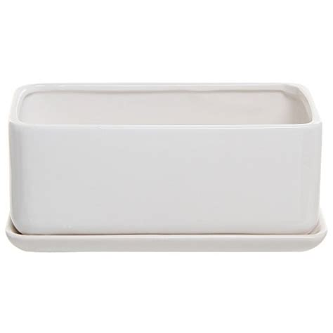 10 Inch White Ceramic Plant Pots by 10 Inch Rectangular Modern Minimalist White Ceramic