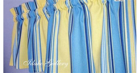 Window Valance Ideas blue yellow stripe window valance little curtain by idaho