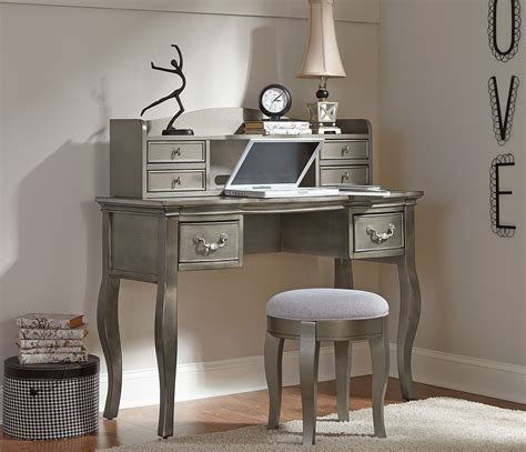 Kensington Antique Silver Writing Desk With Hutch Stool Antique Desk With Hutch