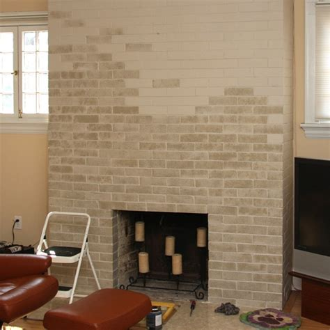 the gallery for gt painted brick fireplace wall