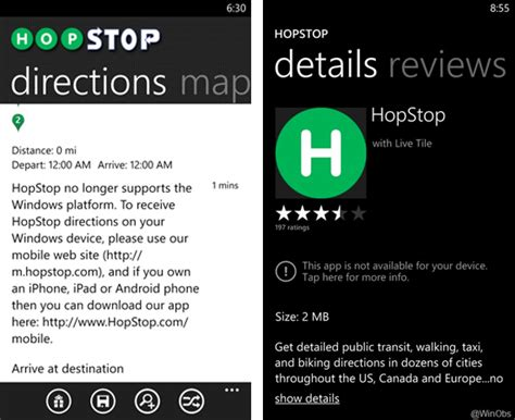 hopstop android hopstop drops windows phone support in of apple acquisition