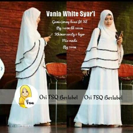 Gamis Syari Polka White 1984 by Gamis Syari Vania A081 Baju Muslim Pesta Putih