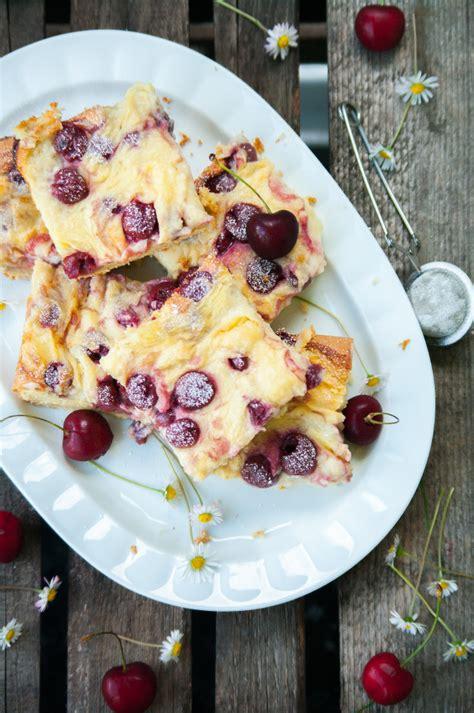 Pudding Kirsch Kuchen puddingkuchen mit kirschen trytrytry