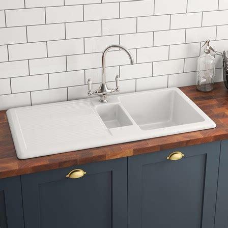 White Ceramic 1 5 Bowl Kitchen Sink Butler 1 5 Bowl White Ceramic Kitchen Sink With Reversible Drainer Waste Kit 1010mm X
