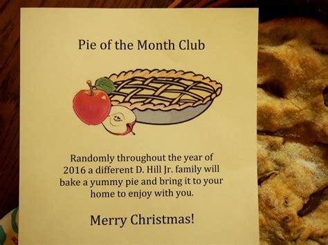 Gift Card Of The Month Club - a perfect grandparent gift homemade pie of the month club with a free printable