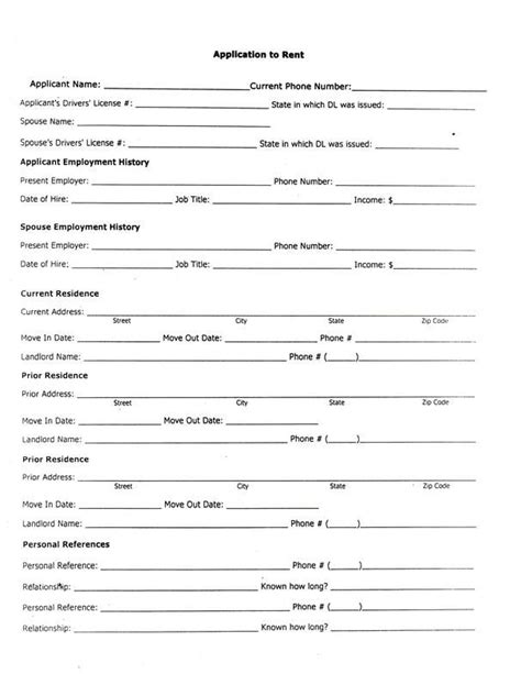 Printable Sle Rental Application Form Form Real Estate Forms Pinterest Best Real Estate Real Estate Rental Application Form Template