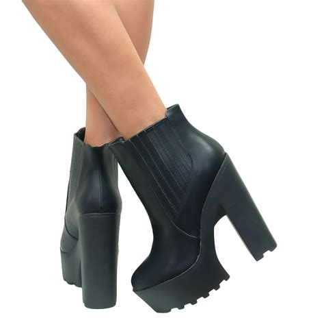 ankle boot heels womens chunky cleated sole black or brown platform