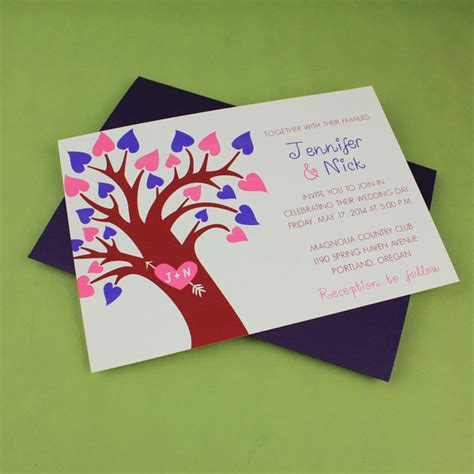 spring wedding invitation template with heart tree