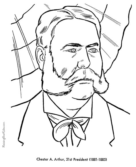 printable coloring pages us presidents chester a arthur coloring pages free and printable
