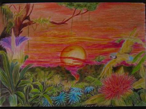 how to draw a sunset with colored pencils how to draw paint a sunset in the rainforest with coloured