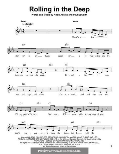 printable lyrics rolling in the deep rolling in the deep by adele p epworth sheet music on