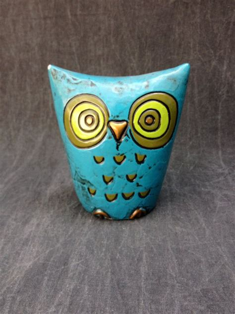 How To Make A Paper Mache Owl - 70 s fitz and floyd blue paper mache owl piggy bank