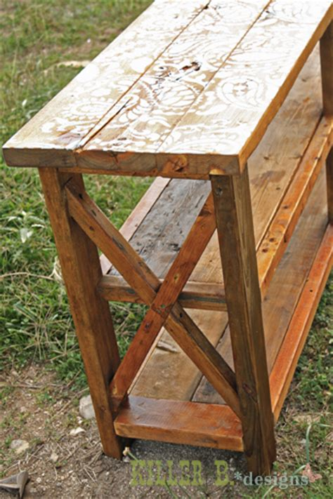 rustik 2x4 dimensions reclaimed stenciled rustic x console hometalk