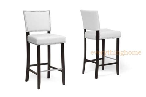 White Leather Counter Stools With Nailhead Trim by 2 Modern White Faux Leather Bar Stools Nailhead Trim Wood