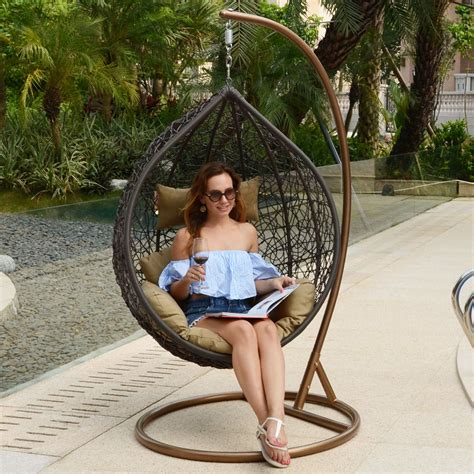 hanging wicker chair bentley garden wicker rattan patio hanging egg swing hammock rattan wicker lounge chair