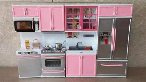 unboxing  barbie kitchen set deluxe modern toy