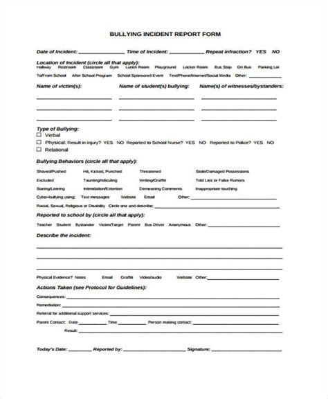 Incident Report Exle School Sle Incident Report Form