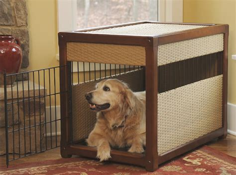 puppy in kennel pets2bed offers chic crates to match the home