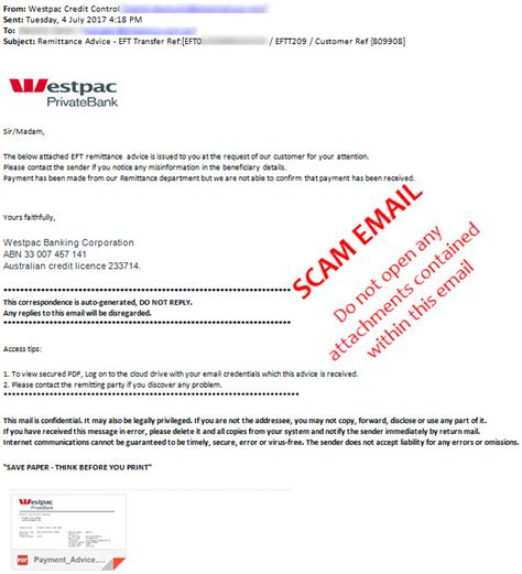 Bank Details On Letterhead Scams Westpac