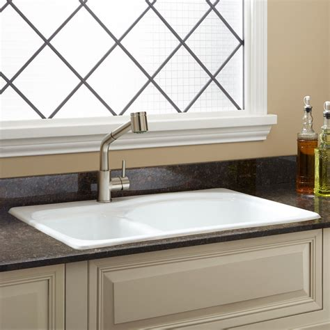 drop in farmhouse kitchen sinks 33 quot scovell 60 40 offset bowl cast iron drop in