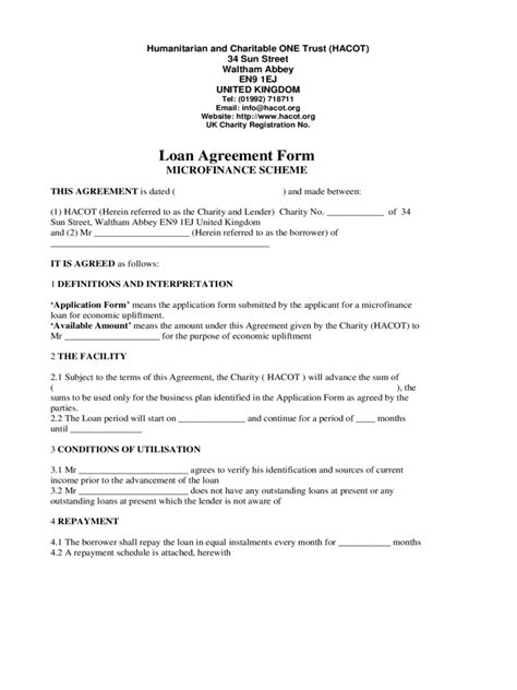 financial loan agreement template microfinance loan application form 2 free templates in