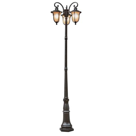 home depot christmas light pole bel air lighting 3 light outdoor rubbed bronze pole with glass 5707 rob the