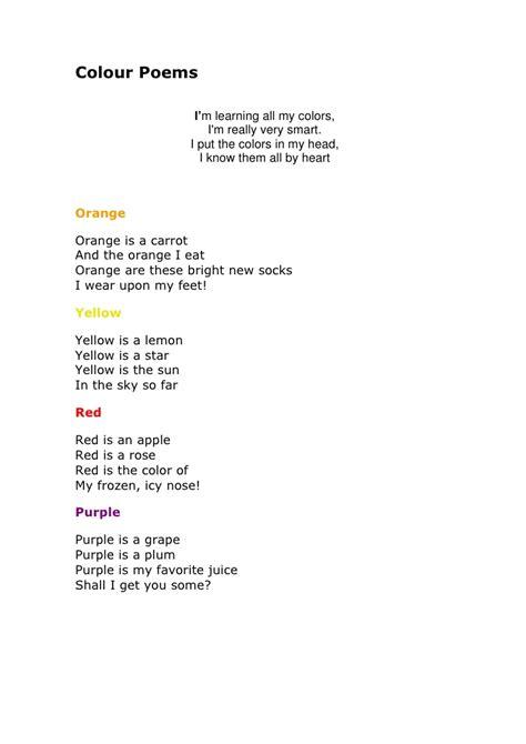 poems about colors colour poems