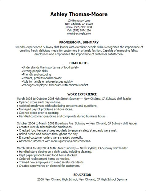 Subway Shift Leader Sle Resume by 1 Subway Shift Leader Resume Templates Try Them Now Myperfectresume