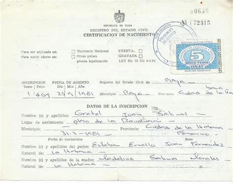 Cuba Birth Records The Weekend Birth Certificate Review Republic Of Cuba