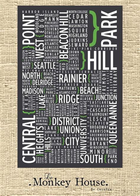 seattle map neighborhoods poster seattle neighborhoods typography poster print