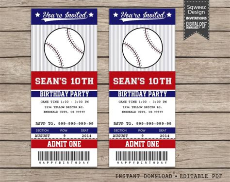 baseball ticket template baseball invitations baseball ticket invitations sport