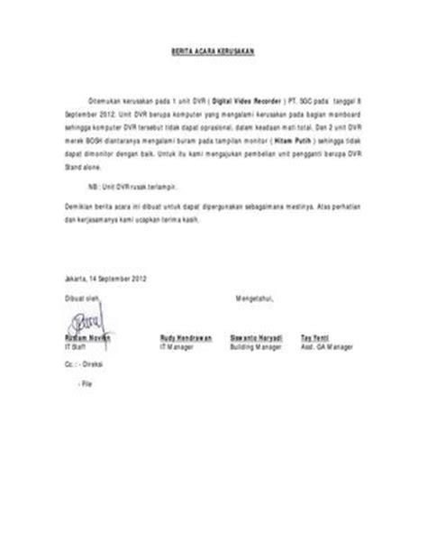 format berita acara kerusakan berita acara cctv rusak by runov runov issuu