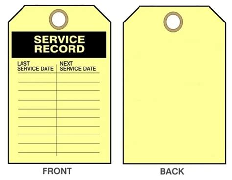 service tags service record maintenance tags 25 pk