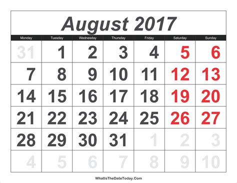 Calendar Numbers 2017 Calendar August With Large Numbers