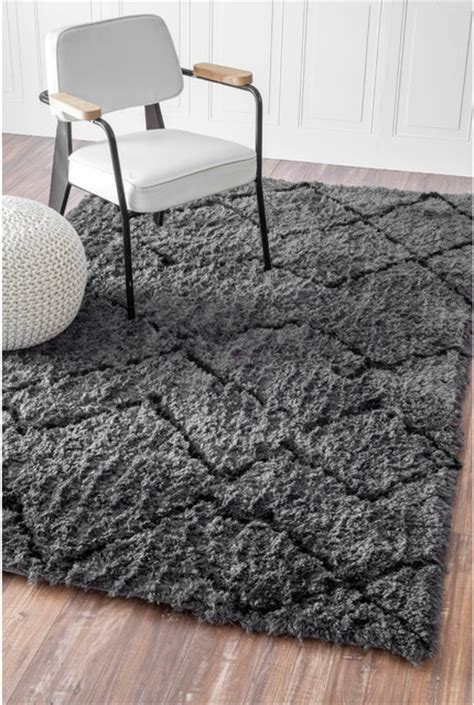 Plush Area Rugs 8x10 Nuloom Soft And Plush Moroccan Trellis Grey Black Shag Rug 8 X 10 Contemporary Area Rugs