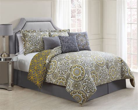 7 piece jezebel gray yellow reversible comforter set